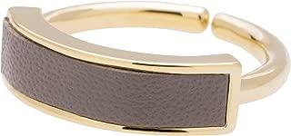 [クロスマーベリー] デザイン リング スクエア レザー ゴールド フリーサイズ 真鍮 指輪 レディース C03-G/グレー