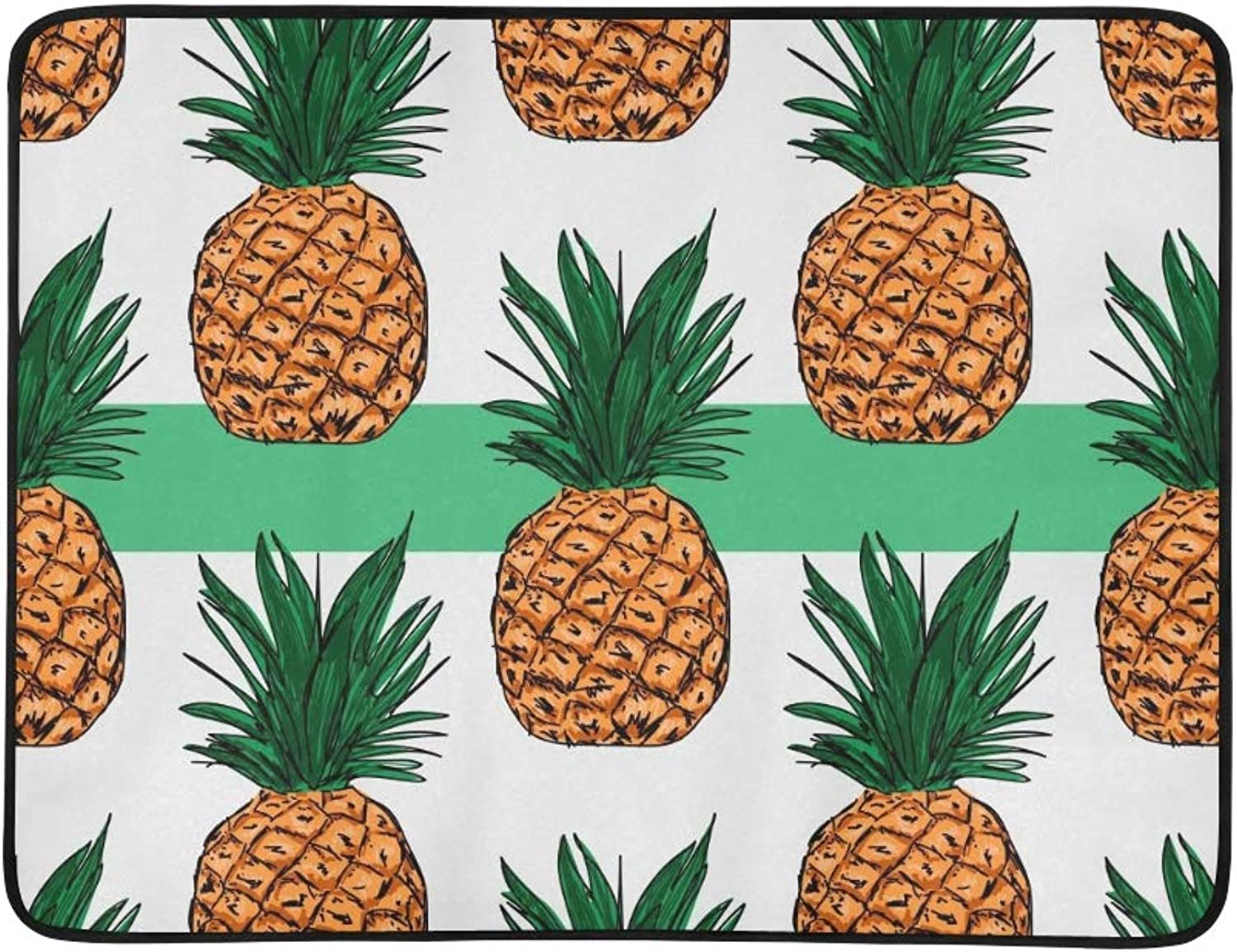 Pineapple On Bright Green color Portable and Foldable Blanket Mat 60x78 Inch Handy Mat for Camping Picnic Beach Indoor Outdoor Travel