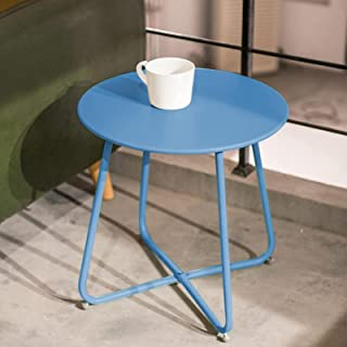 Round Coffee Table, Iron Patio Sofa Side Table/Small Corner Table, Modern Breakfast Kitchens Serving Tables, Lightweight