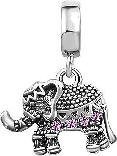 KunBead Elephant Animal Charms for Bracelets Simulated Birthstone Crystal Dangle Charm Beads