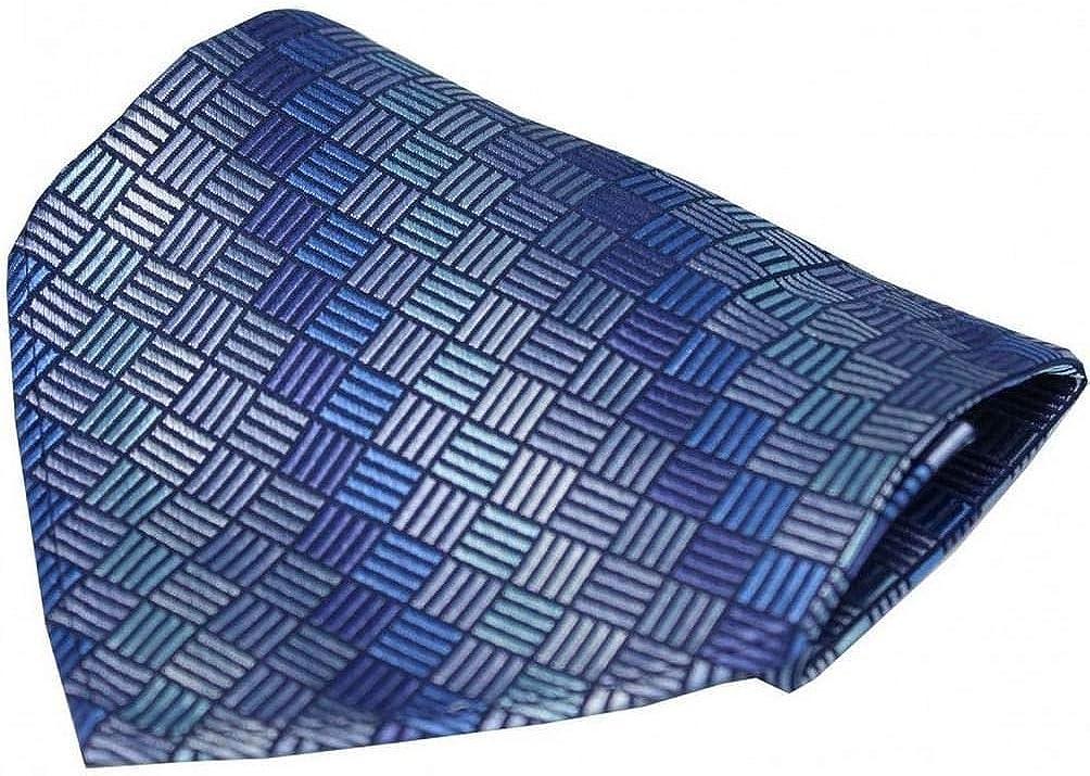 David Van Hagen Mens Box Pattern Luxury Silk Handkerchief - Blue