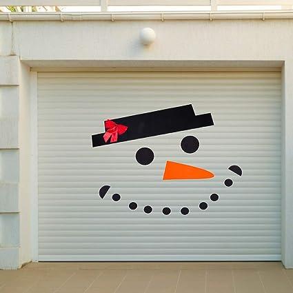 Amazon Com Pamase Snowman Face Christmas Garage Door Decoration Diy Snowman Non Woven Archway Door Decoration With Hat Bow Eyes Nose Teeth For Window Car Decor Garden Outdoor