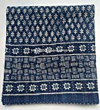 Blue Indigo Print Cotton Handmade Handblock Quilted Blanket Indian Cottodspread Kantha Indigo Print Beork Bohemian Bed Decor Block Throw Blanket Twin/King/Queen (Queen/King 90X108 inches)