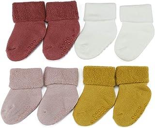 MMBABY, 4 pares de calcetines para bebé recién nacido, antideslizantes, cálidos, de algodón, para recién nacidos, 4 pares