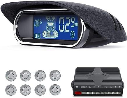 $46 » FOONEE Backup Radar System, Wireless Parking Sensor Kit, Car Monitor Parking 8 Sensors for Universal Car, Anti-Collision, High Sensitivity, Dual-core, Voice, LCD (22Pcs)- Silver