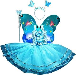Amosfun 4pcs Girls Fairy Princess Costume Set Light up Butterfly Wing Wand Headband Tutu Skirt Party Costume Set Sky-Blue