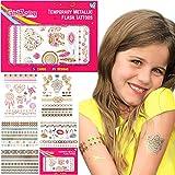 GirlZone Regalos para Niñas - Tattoos Infantiles Tatuajes Niñas - Pack de 65 Tatuajes Temporales para Niñas - Dorados, Metálicos Y Brillantes - Flash Tattoos 4 - 12 Años Halloween