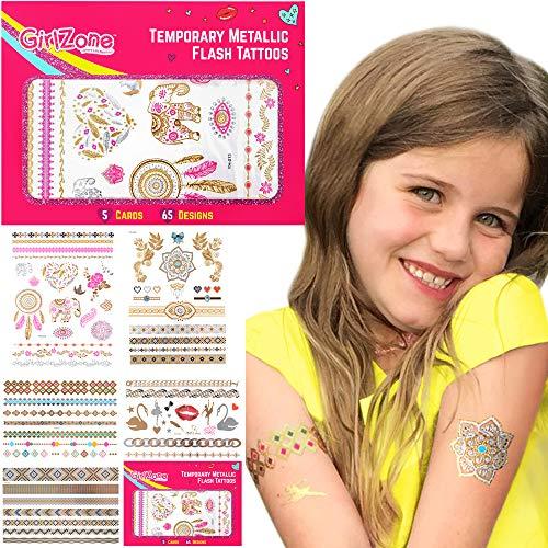 GirlZone Geschenke für Mädchen - Tattoos Mädchen Temporäre Flash Tattoos & Klebetattoos Tattoos Glitter Mitgebsel Mädchen- Mädchen Geschenke 3 4 5 6 7 8 9 10 11 12 Jahre