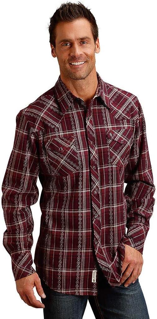 Stetson Apparel Mens Burgundy Brushed Twill Plaid Long Sleeve Snap Shirt