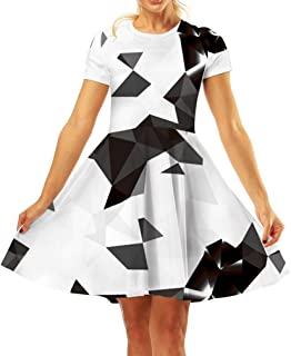 dfde1779f4be Pattrily Women's Casual 3D Print O-Neck Short Sleeve Flared Midi Dress