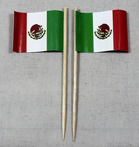 Buddel-Bini Party-Picker Flagge Mexiko Papierfähnchen in Profiqualität 50 Stück 8 cm Offsetdruck Riesenauswahl aus eigener Herstellung