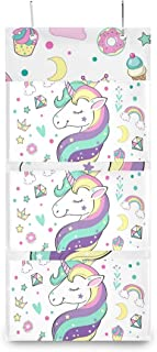 XIXIKO - Sac de rangement mural à suspendre avec 3 poches - Motif licorne, animal, arc-en-ciel, étoile - Pour vêtements, a...
