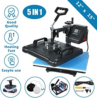 ABDQPC Heat Press Machine 12 X 15 inch 5 in 1 Digital Combo Swing-Away Presser Mug Hat Press Multi-Functional Sublimation T Shirt Heat Press Machine