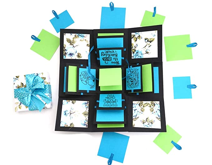 Crack of Dawn Crafts 3 Layered Happy Explosive Box Blue Floral