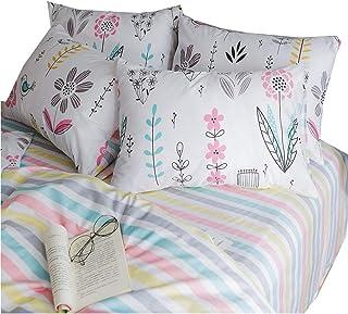 Cotton Deep Pocket Fitted Sheet Twin Modern Striped Bedding Sheet Lightweight Soft Kids Girls Cotton Bed Sheet for Teens Adults Twin Bed Fitted Sheet for All Seasons (NO Pillowcases)