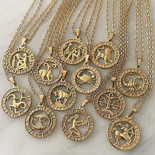 collana uomo zodiaco CXWK 12 Costellazioni della Lettera dello Zodiaco Collana con ciondoli per Donna Uomo Vergine Bilancia Scorpione Sagittario Regalo di Compleanno