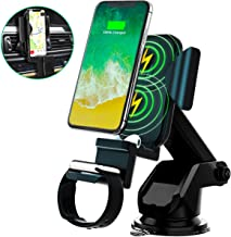 3 in 1 Wireless Charging Car Charger Mount, Newest Auto Clamping Car Vent Phone Holder Qi QC 3.0 Car Chargers 10W/7.5W Fast Charging for Phone, Air Pods Watch,with QC3.0 Car Charger Adapter