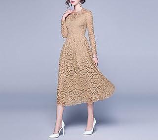 Robe de Mariée Robe Longue Jupe Tempérament D'Automne Dames Dentelle Creuse Taille Mode Robe Mince de Bal/Kaki/l, L-F, Kak...