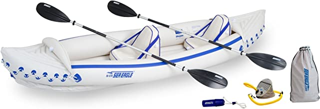 Sea Eagle 370 Pro 3 Person Inflatable Portable Sport Kayak Canoe Boat w/ Paddles