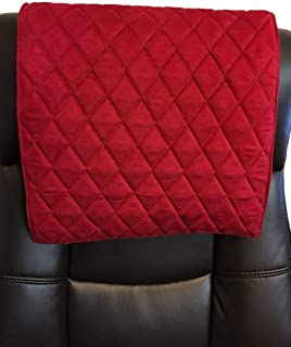 luvfabrics 14 x 30 inch Quilted Diamond Stitched Head Rest Sofa, Loveseat, Chaise, Headrest Pad, Recliner Head Cover, Theater Seat, RV Cover, Chair Caps, Protector with Suede Backing (RED Suede)