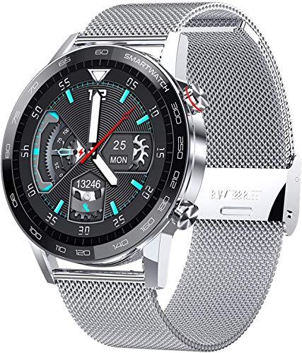 Gymqian Reloj Elegante, Pantalla Táctil Reloj de Pulsera con Cámara, Bluetooth Impermeable Smartwatch Deportes Rastreador de Ejercicios, Plata clásico/Plata