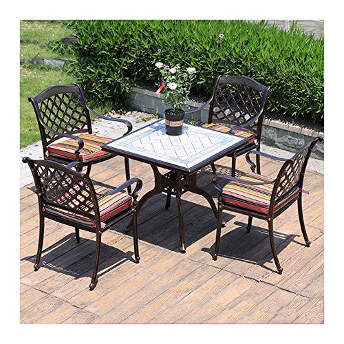 DYYD Best Choice Products 5-Piece Outdoor Rust-Resistant Cast Aluminum Patio Bistro Set Garden Furniture Sets