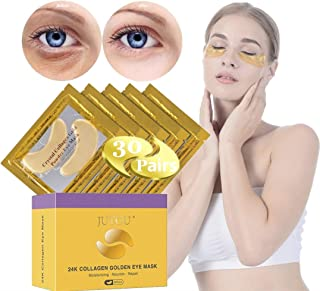 JUYOU 24K Gold Under Eye Patch, Eye Mask, Collagen Eye Patch, Eye Pads For Anti-wrinkles, Puffy Eyes, Dark Circles, Fine Lines Treatment 30 Pairs Undereye Patches