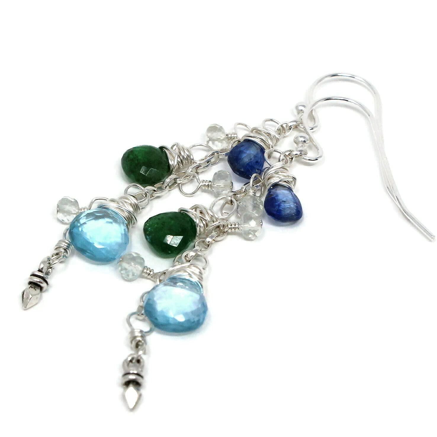 Delicate Cascade Some reservation Multi Ranking TOP14 Gemstone Earrings Blue Tsavorite Topaz Ky