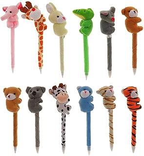 12pcs Animal Pens Plush Pens Ballpoint Pens Cartoon Fluffy Animal Pens Gifts