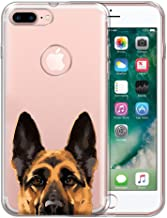 FINCIBO Case Compatible with Apple iPhone 7 Plus/ 8 Plus, Clear Transparent TPU Silicone Protector Cover Soft Gel Skin for iPhone 7 Plus / 8 Plus (NOT FIT iPhone 7/8) - Black Tan German Shepherd Dog