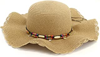 Summer hat Women Sun Hat Stubble Hat Outdoor Seaside Beach Big Hat Sunscreen Sunshade Pearl Bow Fashion Frilled Big Edge Cool Hat hat (Color : Coffee, Size : 56-58CM)