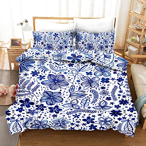AHKGGM Duvet cover set Double Blue flower Bedding 3 pcs Microfiber duvet cover 79x79 inch with zipper closure And 2 pillowcases 20x30 inch -for adults and children's bedrooms