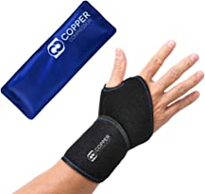Copper Compression Wrist Ice Pack Wrap. Hot + Cold Wrist Support Sleeve. Heat + Icing Reusable Therapy Compress Brace for Tendonitis, Carpal Tunnel, Arthritis, Sprained Wrists, Hand Pain, Computer