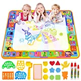 Water Doodle Mat, Larger 100 x 70cm Multicolored No Mess Water Drawing Painting Pad with 3 Magic Pens & 8 Stamps - Best Educational Toy & Xmas Gifts for Boys& Girls Age 3 4 5 6+ Years Old