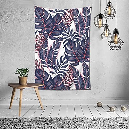 Tapiz para colgar en la pared de las hojas tropicales, blanco, morado, decoración de verano, tapiz estético de 60 x 40 pulgadas, P.X.M.E