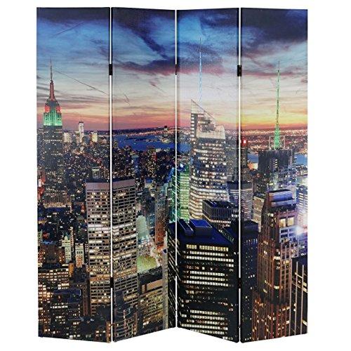 Mendler LED-Paravent Trennwand Raumteiler New York, Timer, netzbetrieben 180x160cm, 28 LEDs