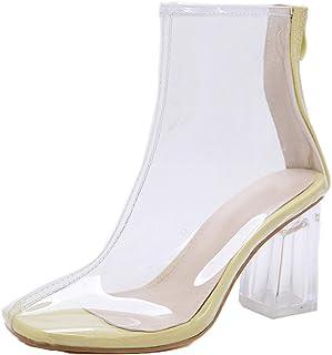 Botines de Mujer otoño PVC Transparente Punta Redonda Tacones Altos Moda Cremallera Vestido de Fiesta Elegantes Zapatos de...