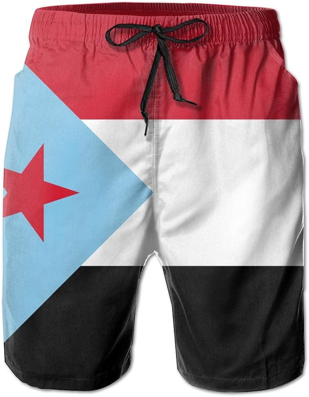 CUTEDWARF Men's 3D Printing Flag of South Yemen Beach Shorts Casual Shorts