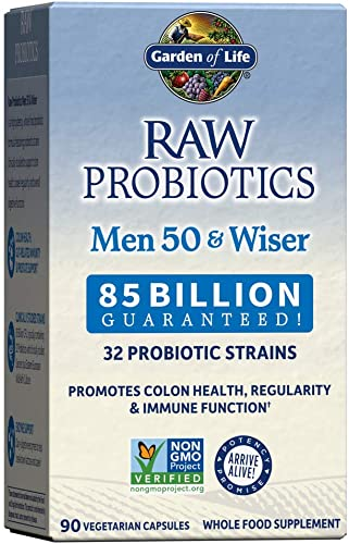 discount Garden of Life Raw sale Probiotics for Men Over 50 - Men 50 & Wiser Probiotic with Acidophilus and Bifidobacteria Probiotic-Created Vitamins, Enzymes, and Prebiotics, Gluten Free, 90 Vegetarian outlet sale Capsules outlet sale