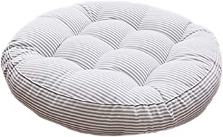 Tourequi Modern Simple Round Cotton and Linen Chair Cushions Thicken Striped Chair Pads (Gray, M)