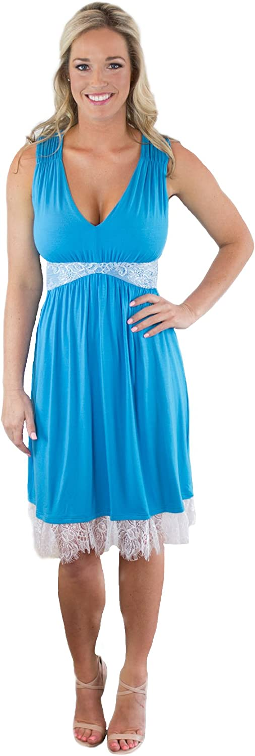 Charm Your Prince Women's Full Back Sundress with White Lace