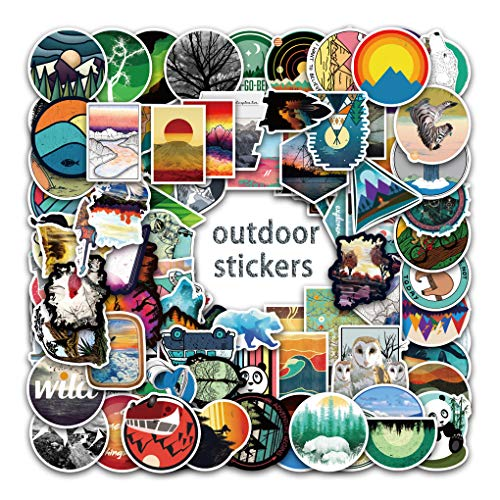 Hopeme Travel wildness adventure outdoor stickers for Luggage laptop cartoon stickers and the material are safe and unharmful.These stickers are suitable for water bootle,laptop,outdoor,travel case