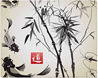 InterestPrint Oriental Ink and Wash Painting Bamboo Drangonfly and Koi Fish Canvas Prints Wall Art Stretched and Framed Abstract Artwork Pictures for Home Office Decoration, 20 x 16 Inches