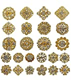 Your Perfect Gifts 24 pcs Gold Rhinestone Brooch Crystal Brooch Wedding Invitation Cake Decoration Brooch Bouquet Kit Wholesale AMBR680
