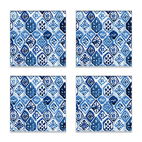 Reebos Juego de 4 posavasos para bebidas, diseño de azulejos arabescos de cerámica, base de corcho, alfombrilla de protección para tazas y tazas, oficina, cocina