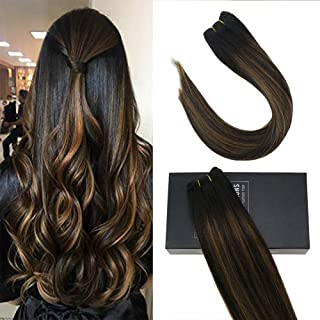 Sunny 20inch Seamless Weft Sew in Hair Extensions Human Hair Black Balayage Medium Brown to Natural Black #1B/6/1B Brazilian Hair Bundles Straight 100% Remy Human Hair 100g/pack