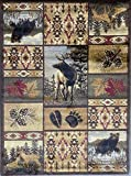 Cabin Style Distressed Antiquated Area Rug Black Bear Elk Deer Wildlife Animal Country Hunting Southwest Wilderness Design 760 (7 Feet 7 Inch X 10 Feet 6 Inch)