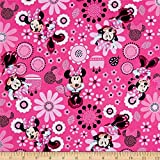 Springs Creative Products Disney Minnie Bowtique Cotton Minnie Allover Quilt Fabric, Pink, Quilt Fabric By The Yard