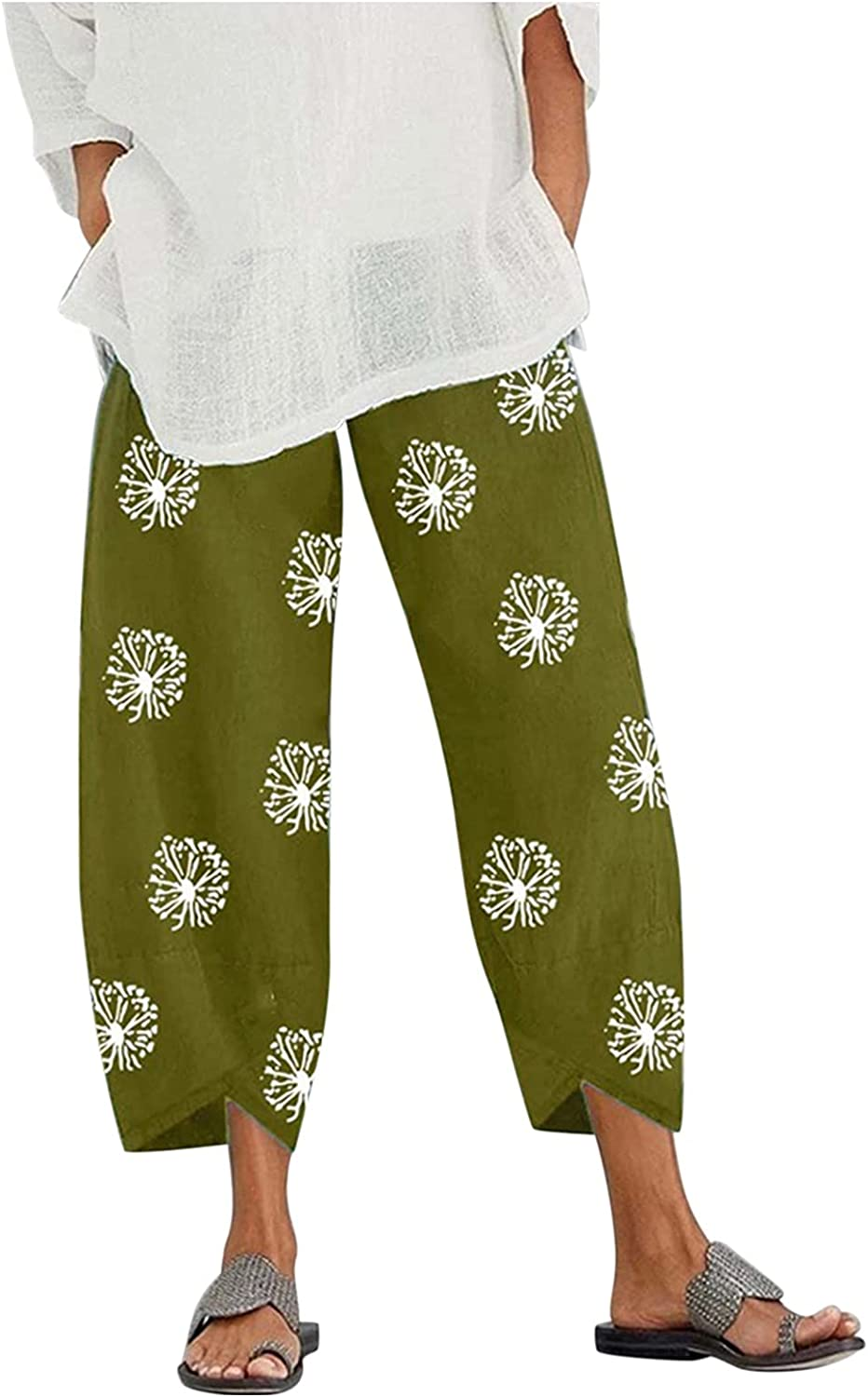 Women Summer Harem Pants Brand new Cotton Elastic Cropped All items in the store Linen Waist Trou