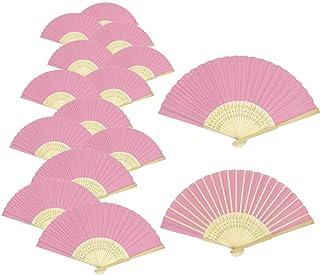 Woohome 15 Pz Ventilador de Papel de Bambú Plegable Mano Ventilador para Decoraciones de Bodas, Fiestas, Bailes, DIY (Rosa)